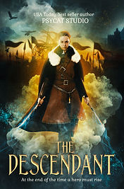The Descendant, warrior, book cover premade