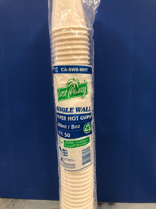 Cup Coffee White Paper Single Wall 8oz 50s