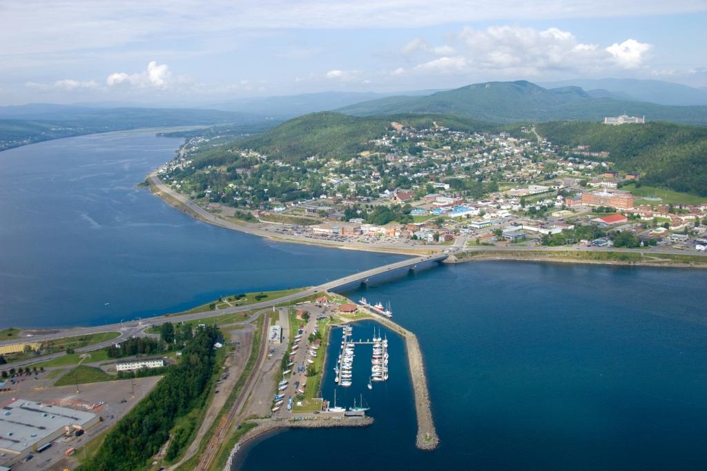 Vue aérienne du centre-ville de Gasp