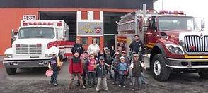 Activité de prévention incendie pour une classe de maternelle, caserne 26 de Rivière-au-Renard