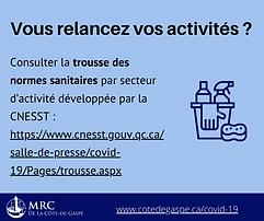 Relance de vos activités : normes sanitaires