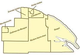 Carte des territoires non organisés de La Côte-de-Gaspé