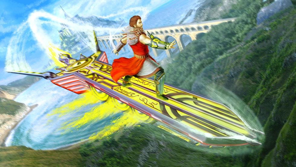 Arthur Riding Excalibur