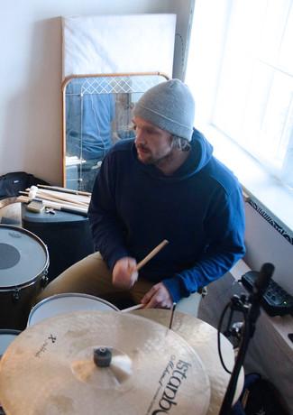 Innspilling av trommer i Vakuum Studio