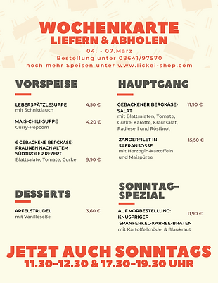 Rot Orange Gemustert Imbiss Speisekarte-