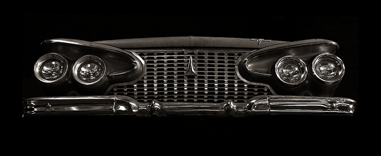 b+w tri-tone photograph of 1961 plymouth grille by bay area fine art photographer scott lockwood.