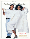 Actor Rae Dawn Chong with clothing designer Glenn Williams by Scott Lockwood - Los Angeles c.1986