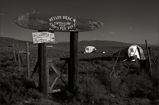 BITTER INVITATION - Poignant, B&W photo by fine art photographer Scott Lockwood of former Keeler, CA camp ground at the edge of former Owen's Lake.