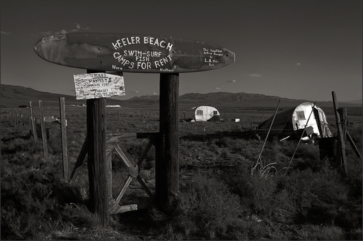BITTER INVITATION - Poignant, B&W photo by fine art photographer Scott Lockwood of former Keeler, CA camp ground at the edge of former Owen's Lake.