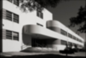 STREAMLINED MODERNE BUILDING No. 2 - ALAMEDA, NAVAL AIR STATION - B&W photograph of Streamlined Modérne building on the grounds of the former Alameda Naval Air Station, Alameda Island, CA by S.F. Bay Area, fine art photographer, Scott Lockwood.