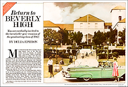 Contemporary hand-tinted photo of Beverly Hills High School by photographer Scott Lockwood featuring a 1959 Mercury convertible.