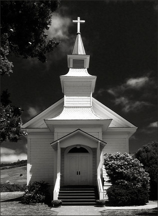 LITTLE COUNTRY CHURCH No. 2 - B&W photograph of the front of the Old Saint Mary's Church of Nicasio Valley, CA by S.F. Bay Area, fine art photographer, Scott Lockwood.