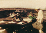 Hand Tinted photograph of '49 Cadillacs, two period looking woman and sailor.