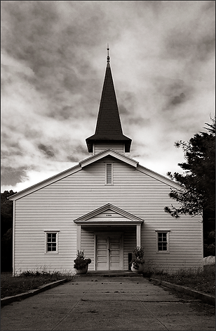 LITTLE COUNTRY CHURCH No.1 - B+W photograph of a small, old church of the grounds of the old Presido military base by S.F. Bay Area, fine art photographer, Scott Lockwood.
