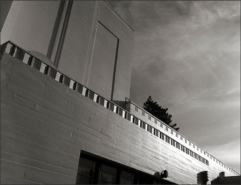STREAMLINED MODERNE BUILDING No. 4 - DETAIL NO. 3 - B&W photograph of Streamlined Modérne, Whittier School building by S.F. Bay Area, fine art photographer, Scott Lockwood.