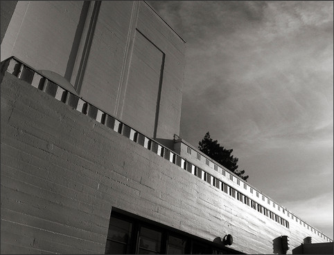 STREAMLINED MODERNE BUILDING No. 4 - DETAIL NO. 3 - B&W photograph of Streamlined Modérne, Whittier School building by S.F. Bay Area, fine art photographer, Scott Lockwood.