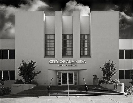 MODERNE BUILDING No.1 - B&W photograph of Modérne style office bldg., City Hall West building, Alameda, CA by S.F. Bay Area, fine art photographer, Scott Lockwood.
