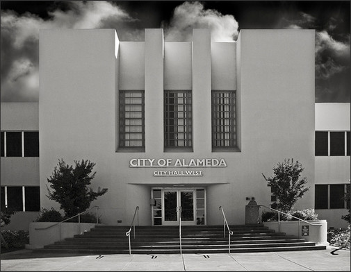 MODERNE BUILDING No.1 - B&W photograph of Modérne style office bldg., City Hall West building, Alameda, CA by S.F. Bay Area, fine art photographer, Scott Lockwood.