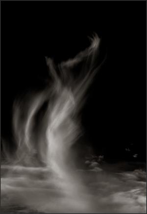 TALKING TO GOD - B+W photo by fine art photographer Scott Lockwood of wind swept clouds.