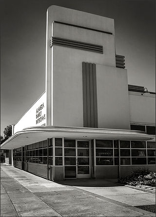 STREAMLINED MODERNE BUILDING No. 3 - ALAMEDA, CA - B&W photograph of Streamlined Modérne building on Alameda Island, CA by S.F. Bay Area, fine art photographer, Scott Lockwood.