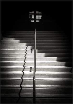 SHADOW PATTERN ON STAIRS No.1 - B&W photograph by Bay Area fine art photographer Scott Lockwood.