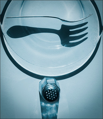 """FLOATING FORK SHADOW No.1 IN BLUE WITH SALT SHAKER""- Abstract, still-life photo by fine art photographer Scott Lockwood."