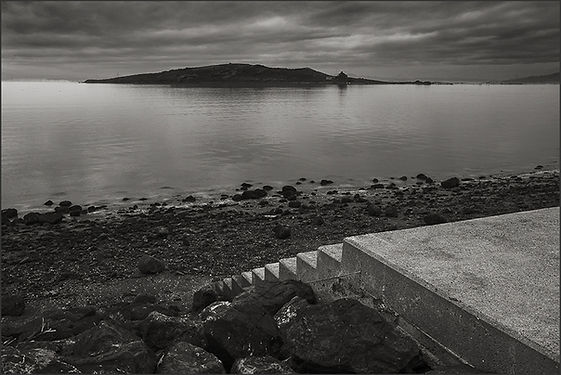 SECRET STAIRS TO BROOKS ISLAND AND BOTH BRIDGE TOWERS - Dramatic, b&w photo of short set of stairs along the San Francisco Bay by fine art photographer Scott Lockwood.