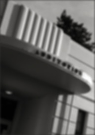 STREAMLINE MODERNE BUILDING - Detail No. 3 - B&W photograph of the Streamline Modérne, Whittier School building auditorium entrance by S.F. Bay Area, fine art photographer, Scott Lockwood.