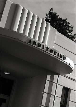 STREAMLINE MODERNE BUILDING - Detail No. 3 - B&W photograph of the Streamline Modérne, Whittier School building auditorium entrance by S.F. Bay Area, fine art photographer, Scott Lockwood.