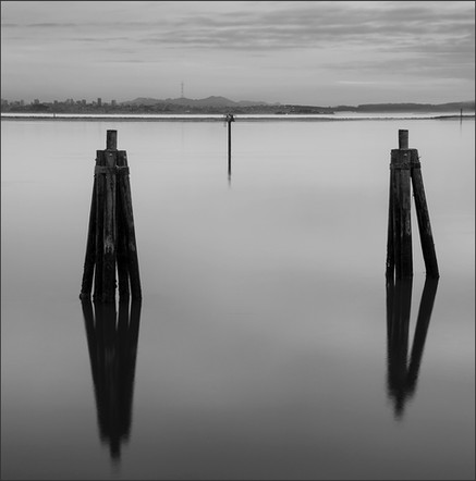 WINTER 5PM S.F. BAY - B+W photograph by fine art photographer Scott Lockwood of the S.F. Bay at 5pm wintertime.