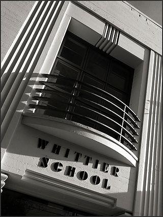 STREAMLINED MODERNE BUILDING NO. 4 - DETAIL NO. 1 - B&W photograph of the Streamline Modérne, Whittier School building, Emeryville, CA by S.F. Bay Area, fine art photographer, Scott Lockwood.