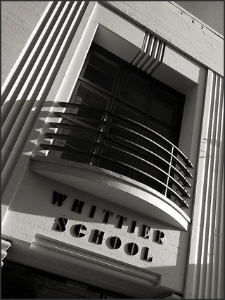 STREAMLINED MODERNE BUILDING NO. 4 - DETAIL NO. 1 - B&W photograph of the Streamline Modérne, Whittier School building, Emeryville, CA by S.F. Bay Area, fine art photographer, Scott Lockwood.