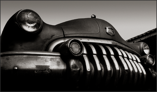 MONSTER BUICK c.1950 - Dramatic, B+W photograph by fine art photographer Scott Lockwood of 1950 Buick grille.