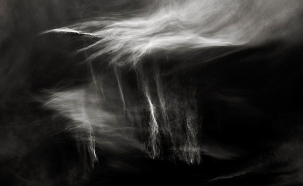 HEAVENLY HEALING - B+W photo by fine art photographer Scott Lockwood of wind swept clouds.
