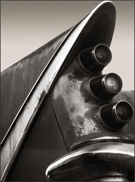 DISTRESSED DESOTO '59 - B&W photo of '59 Desoto tail fin by fine art photographer Scott Lockwood.