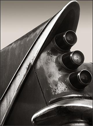 b+w tri-tone photograph of 1959 desoto tail fin by bay area fine art photographer scott lockwood.