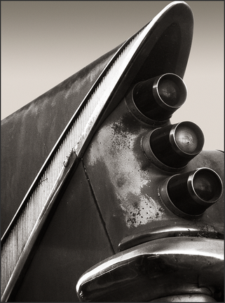 b+w tri-tone photograph of 1959 desoto tail fin by bay area fine art photographer scott lockwood.
