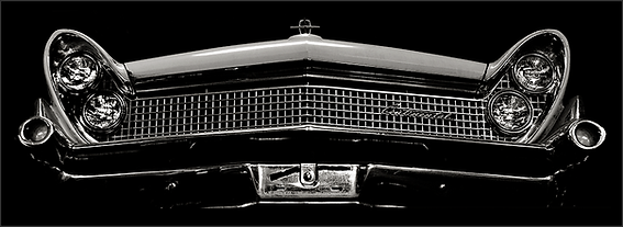 b+w tri-tone photograph of 1959 lincoln continental grille by bay area fine art photographer scott lockwood.