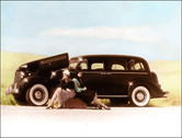 Hand Tinted Photo - '38 Buick with period looking women.
