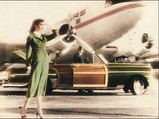 Hand Tinted photo of woman & man with '51 Chrysler Town & Country and DC-3.