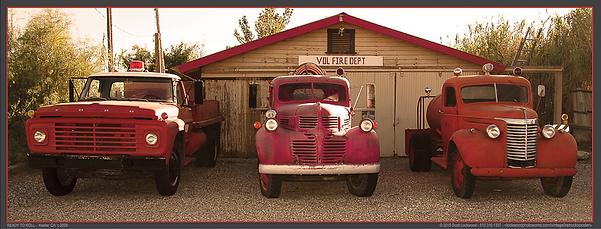 "READY TO ROLL? - 24""x9.5"" Color poster of three, classic fire trucks by San Francisco BayArea fine art photographer Scott Lockwood."