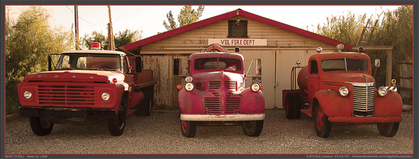 "READY TO ROLL? - 24""x9.5"" Color poster of three, classic fire trucks by San Francisco BayArea fine art photographer Scott Lockwood."