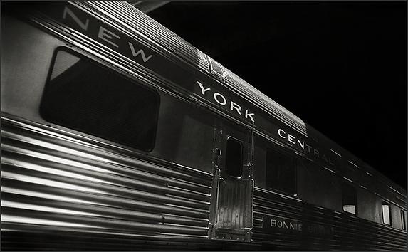 NEW YORK CENTRAL PULLMAN CAR - Dramatic B+W photo of by fine art photographer Scott Lockwood.