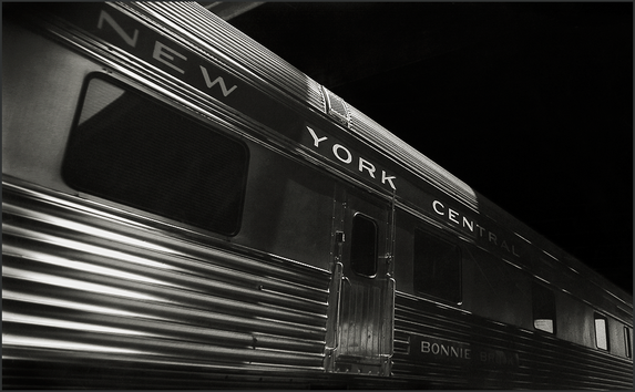 NEW YORK CENTRAL PULLMAN CAR - Dramatic B+W photo of by fine art photographer Scott Lockwood.
