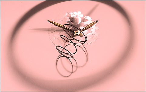 SPRING FORWARD - Still-life photo of clock shadow, clock hands and rusted spring on pink b.g. with flower pattern by fine art photographer Scott Lockwood.