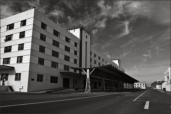 b+w toy camera photograph of moderne style office building on mare island naval shipyard by bay area fine art photographer scott lockwood.