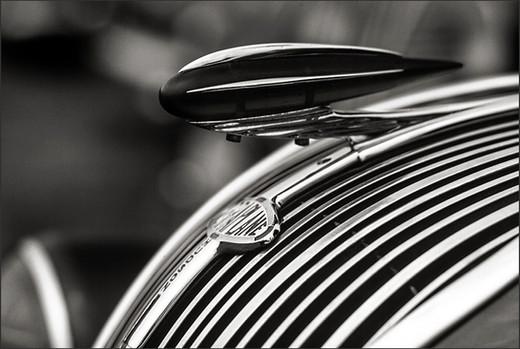 1937 TERRAPLANE HOOD ORNAMENT - Dramatic B+W photograph by fine art photographer Scott Lockwood.