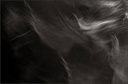 CLOUDUS UNTERRUPTUS - B+W photo by fine art photographer Scott Lockwood of wind swept clouds.