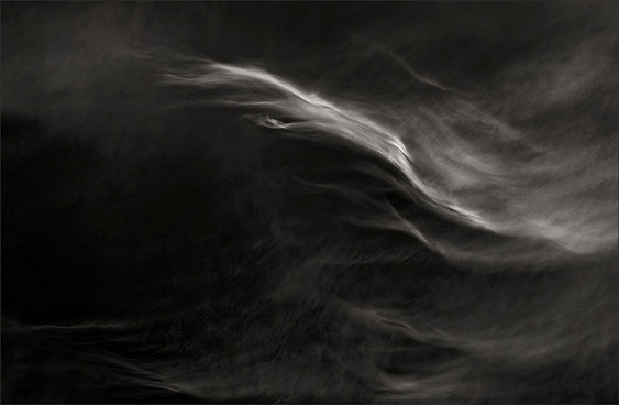 CARESSING THE SOFT - B+W photo by fine art photographer Scott Lockwood of wind swept clouds.