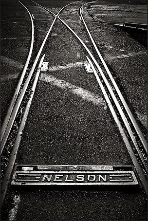 NELSON R.R. PLAQUE - Dramatic, B+W photo by fine art photographer Scott Lockwood of Nelson railroad plaque.